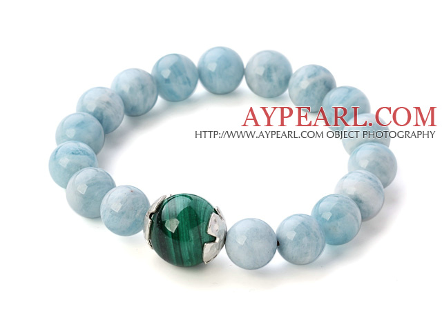 Beautiful Natural Round Aquamarine And Malachite Beaded Elastic Bracelet With Sterling Silver Cap Charm