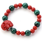 Fashion Natural Round Malachite And Taiwan Red Coral Beaded Bracelet With Red Cinnabar Elephant