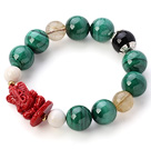 Fashion Natural Round Malachite Gold Rutilated Quartz And White Sea Shell perler armbånd med Red Fairy