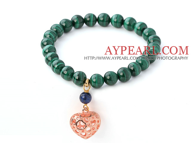 Nice Natural Round Malachite And Lapis Beaded Elastic Bracelet With Gold Hollow Heart Charm