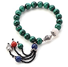 Fashion Round Malachite White Sea Shell Lapis And Coral Tassel Bracelet With Sterling Silver Fish