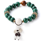 Fashion Natural Round Malachite Tiger Eye And White Sea Shell Beaded Bracelet With Sterling Silver Krisssword Charm