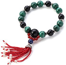 Fashion Φυσικό Μαλαχίτης Round Black And Red Agate Lapis μαργαριτάρι βραχιόλι Φούντα Με Sterling Silver Cap Charm