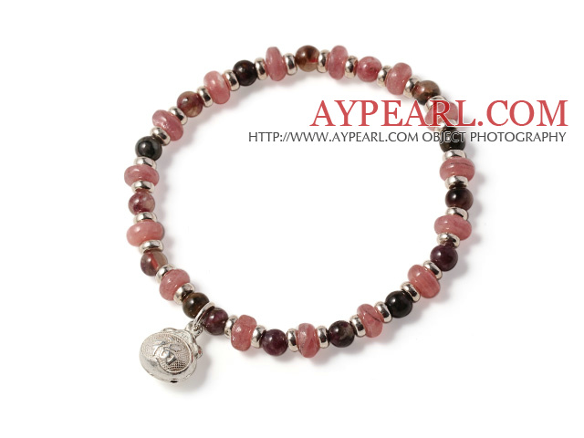 Trendy Simple Style Rhodochrosite And Tourmaline Bracelet With Lucky Bag