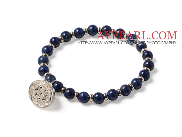 Simple Fashion Style Single Strand Round Lapis Beads Bracelet With 925 Sterling Silver Lotus Seedpod Accessory