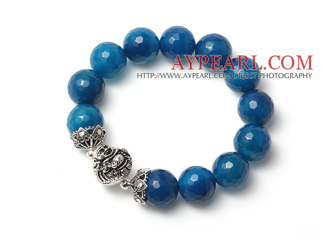 Fashion Single Strand Blue Faceted Agate Bracelet With 925 Sterling Silver Buddha Accessory