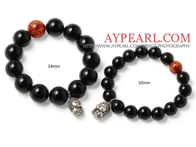 Simple Classic Design Black And Printed Red Agate Couple Bracelets With 925 Sterling Silver Buddha Accessory