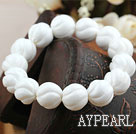 14mm Natural Carved White Sea Shell Elastic Bangle Bracelet