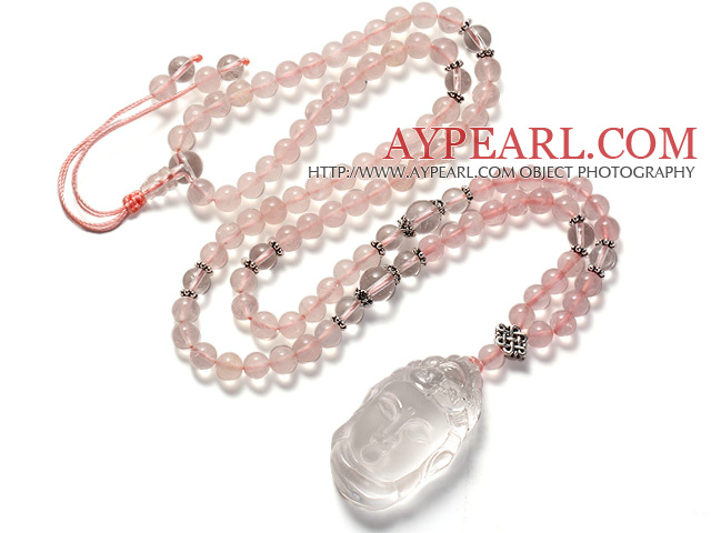 Fashion Beautiful Ntural Rose Quartz And Clear Crystal Buddha Pendant Necklace