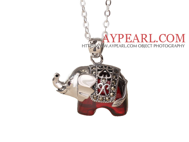 Cute Design 925 Sterling Silver Red Zircon Elephant Pendant Necklace