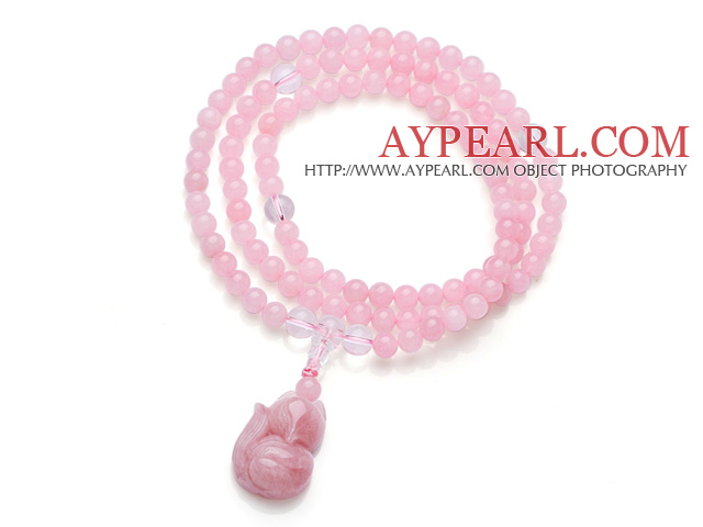 Lovely Fashion Style Natural Brazil Rose Quartz 108 Beads Rosary/Prayer Elastic Bracelet With Rose Quartz Fox Accessory