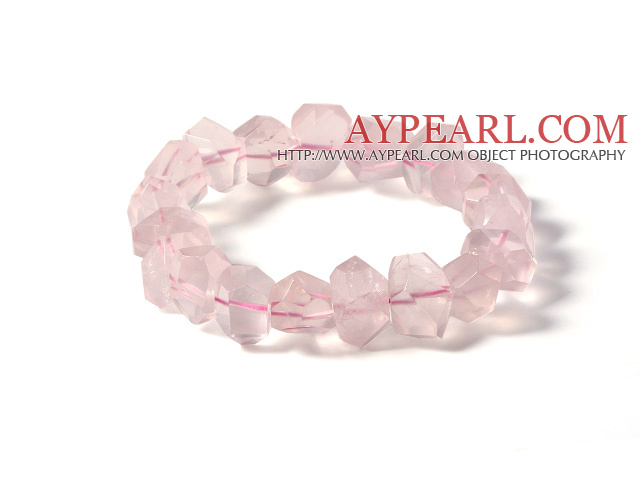 Fashion Design Irregular Shape Natural Star Rose Quartz Elastic Bracelet