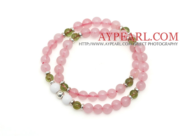 Lovely Fashion Natural Brazil Rose Quartz And Olivine And Sterling Silver Beads Double Strands Elastic Bracelet