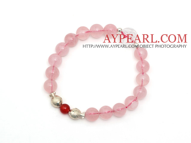 Lovely Simple Design Natural Rose Quartz And Clear Crystal And Sterling Silver Fish Accessory Elastic Bracelet