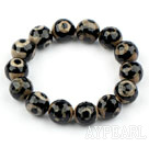 14mm Eye Shape Tianzhu Agate Beaded Elastic Bangle Bracelet