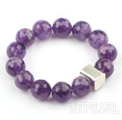 Wholesale 14mm Round Faceted Natural Amethyst Beaded Elastic Bangle Bracelet with Thailand Silver Accessory