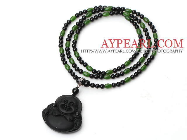 Trendy Style Black Agate And Green Jade Necklace With Obsidian Maitreya Buddha Pendant