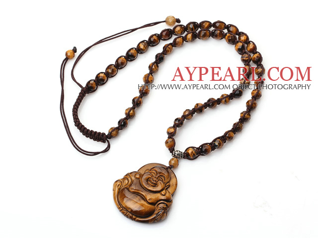 Classic Design Faceted Tiger Eye Stone Woven Adjustable Drawstring Necklace With Maitreya Buddha Pendant