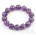 14mm Round Faceted Natural Amethyst Beaded Elastic Bangle Bracelet