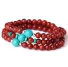 Gorgeous Fashion Multi Strands Red Agate And Green Turquoise Bracelet