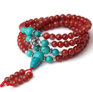 Gorgeous Fashion Multi Strands Red Agate And Blue Turquoise 108 Beads Rosaty/Prayer Bracelet