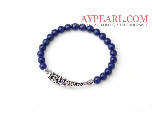 Sample Design Single Strand Natural 3A Lapis Bracelet With 925 Sterling Silver Fish Accessory