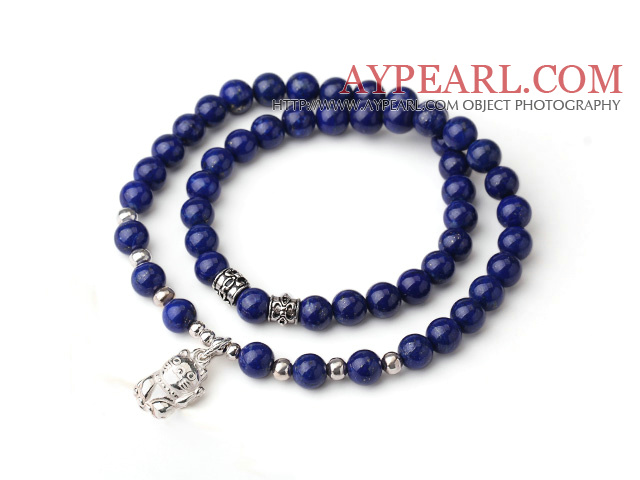 Sample Design Double Strands Natural 4A Lapis Bracelet With 925 Sterling Silver Fortune Cat Accessory
