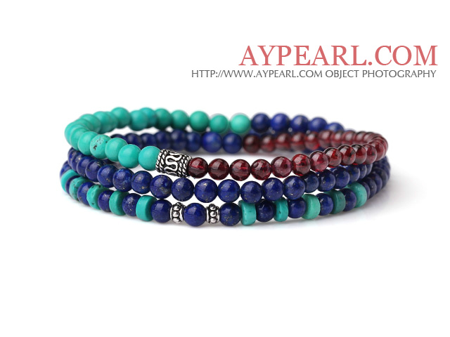 Sample Design Three Strands Natural Lapis Turquoise And Garnet Bracelet