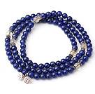 Sample Design Multi Strands Natural 4A Lapis And Citrine Bracelet With 925 Sterling Silver Lotus Seedpod Accessory
