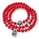 Hipanema Red Cinnabar Three Strands Bracelet With 925 Sterling Silver Cute Buddha Accessory