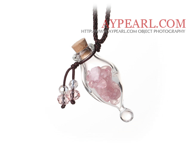 Lovely Fashion Natural Crystal Perfume Bottle Pendant With Brown Thread(Random Color)