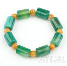 Natural Cylinder Shape Green Agate and Round Yellow Jade Elastic Bangle Bracelet