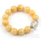 Wholesale 14mm Round Natural Yellow Jade and Clear Crystal Elastic Bangle Bracelet