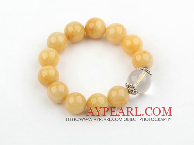 14mm Round Natural Yellow Jade and Clear Crystal Elastic Bangle Bracelet