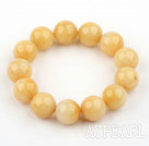 Wholesale 14mm Round Natural Yellow Jade Elastic Bangle Bracelet