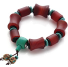 Classic Design Frosted Red Agate And Green Turquoise Coconut Shell Rosary/Prayer Bracelet