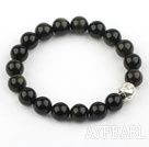 10mm Natural Obsidian Elastic Bangle Bracelet with Sterling Silver Accessory