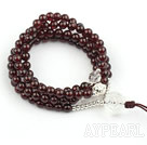 Natural Garnet Prayer Bracelet with Sterling Silver Accessories and Clear Crystal ( Rosary Bracelet 108 Beads)