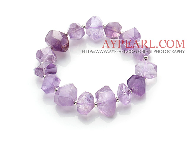 Fashion Style Irregular Shape Amethyst And 925 Sterling Silver Beads Elastic Bracelet