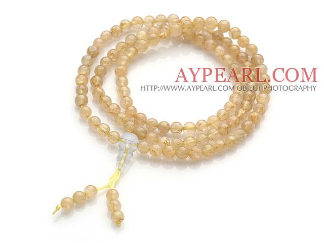 Elagant Trendy Multi Strands Natural Gold Rutilated Quartz 108 Beads Rosary/Prayer Bracelet
