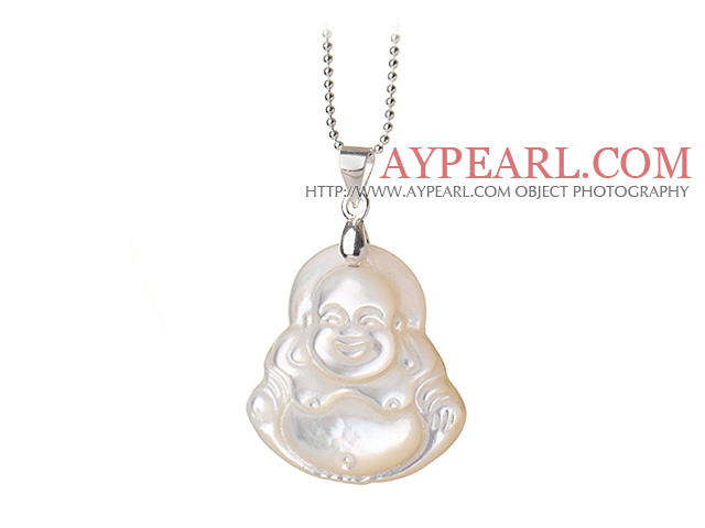 Classic Design Pearl Shell Laughing Buddha Pendant Necklace With Sterling Silver Chain