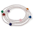 Trendy vară Multi Suvite 925 Sterling Silver margele Bratara cu Multi Color Stone margele