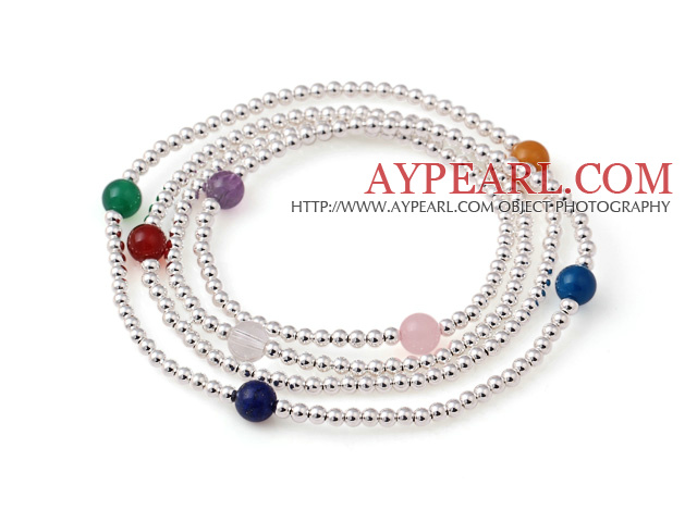Trendy Sommer Multi Strands 925 Sterling Silber Perlen-Armband mit Multi Color Stone Beads