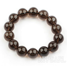 14mm Natural A Grade Smoky Quartz Beaded Elastisk Bangle Bracelet