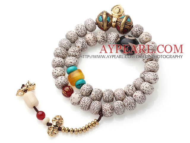 Special Double Strands Bodhi Beads Bracelet With Gold Plated Charms