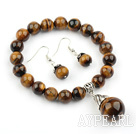 Classic Design Tiger Eye Set (Beaded Elastic Armband och matchade Örhängen)