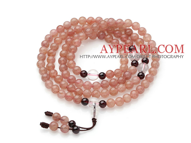 Natural Pink Strawberry Quartz Prayer Bracelet with Clear Crystal and Garnet ( Total 108 Beads )