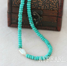 Abacus Shape Natural Faceted Green Turquoise Necklace with Sterling Silver Clasp and Big White Biwa Pearl