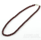 5mm Natural Round Garnet Beaded Necklace with Sterling Silver Lobster Clasp