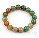 Wholesale 12mm Natural Peacock Agate Beaded Elastic Bangle Bracelet